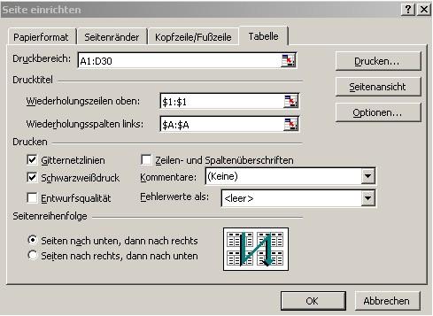 Online - Excel: Seite einrichten - Einstellungen zum Drucken